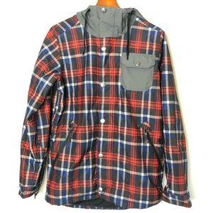 "Burton red plaid ""white collection"" snowboard coat"